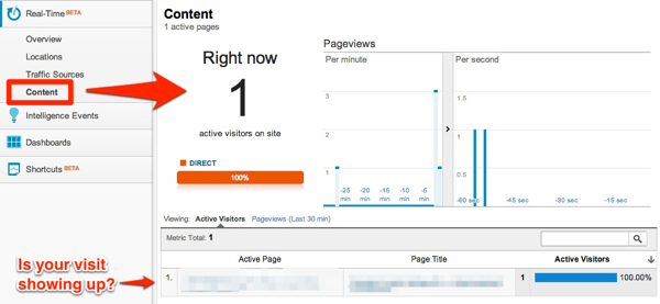 Google Analytics Real Time Debugging