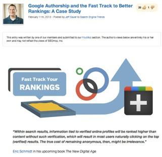 SEOMoz Post on Google