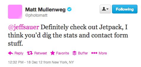 Matt Mullenweg Tweets Jeff Sauer