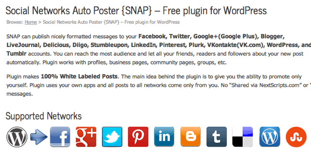 Social Networks Auto Poster Supported Services