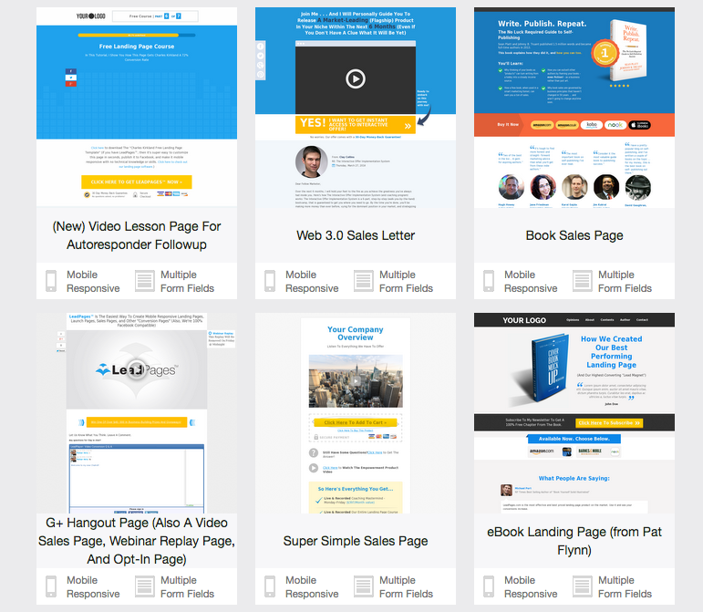 LeadPages Sales Templates