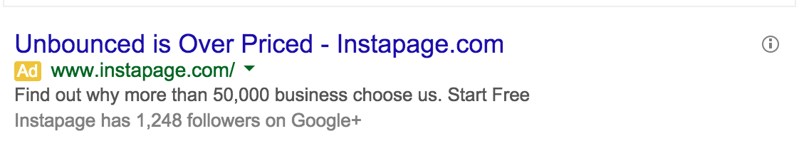 Instapage Competitive Ad