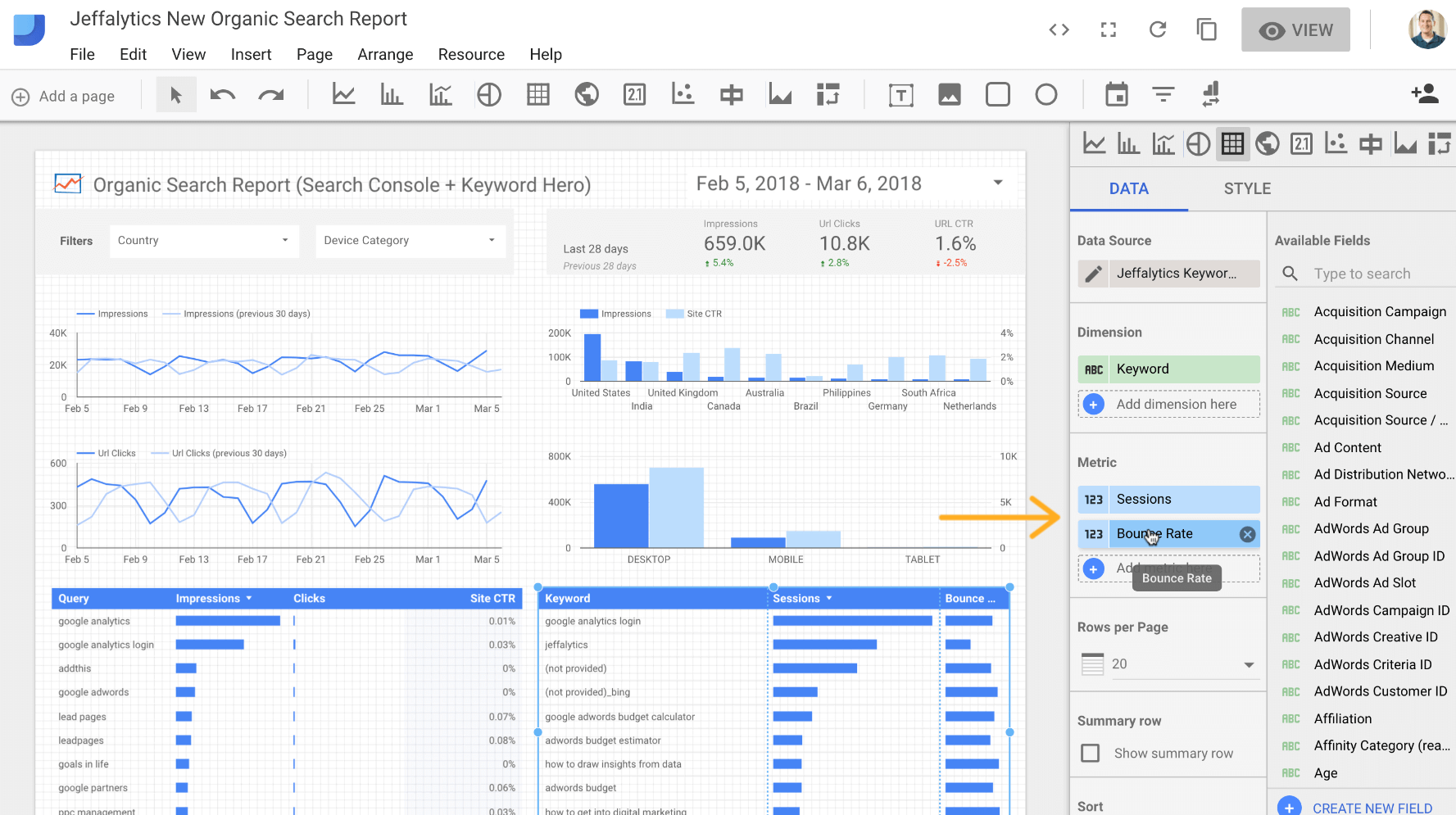 Adding metrics to our seo dashboard
