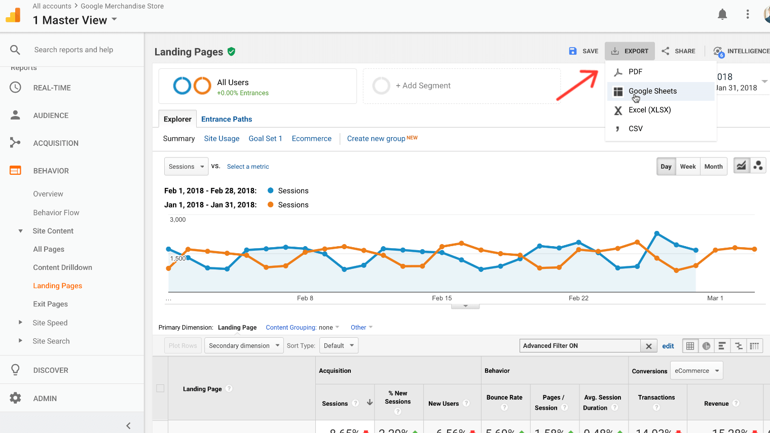 Export your landing page report