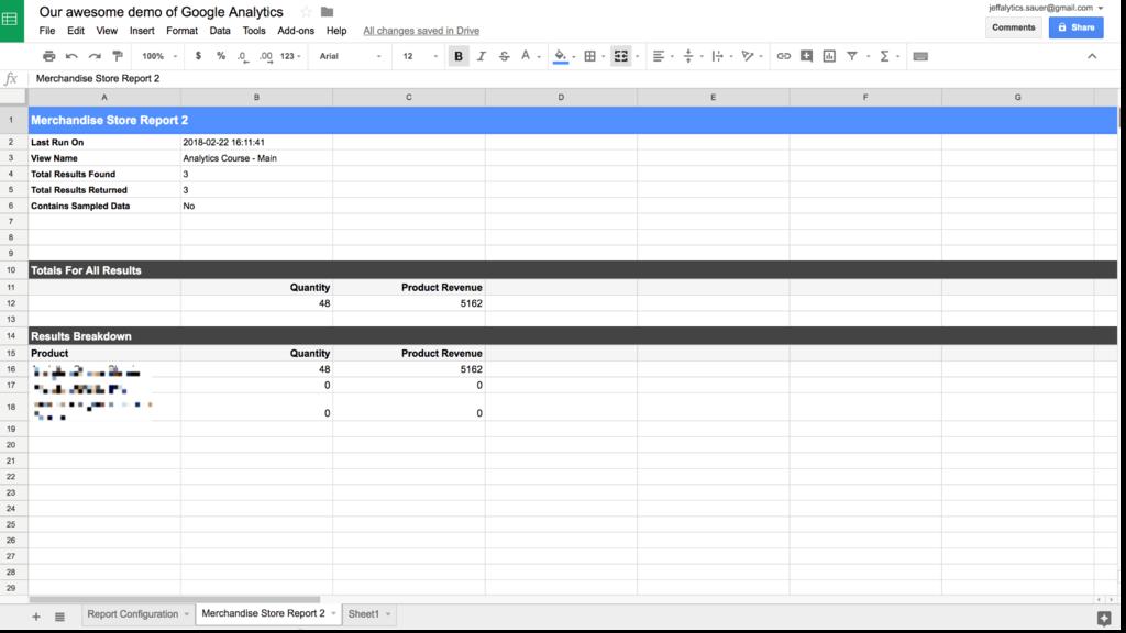 Google Analytics API custom report