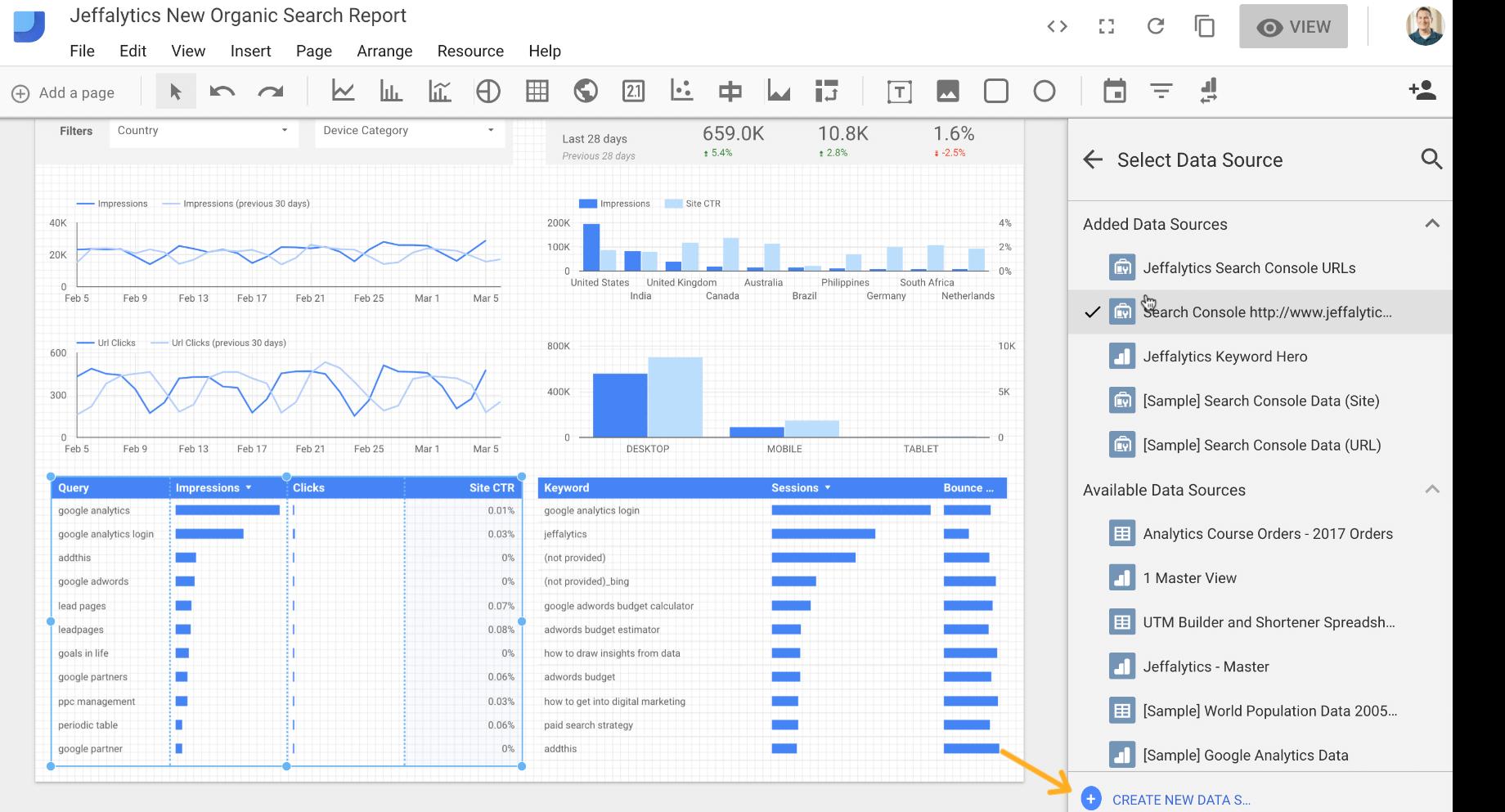 create new data source in Google Data Studio