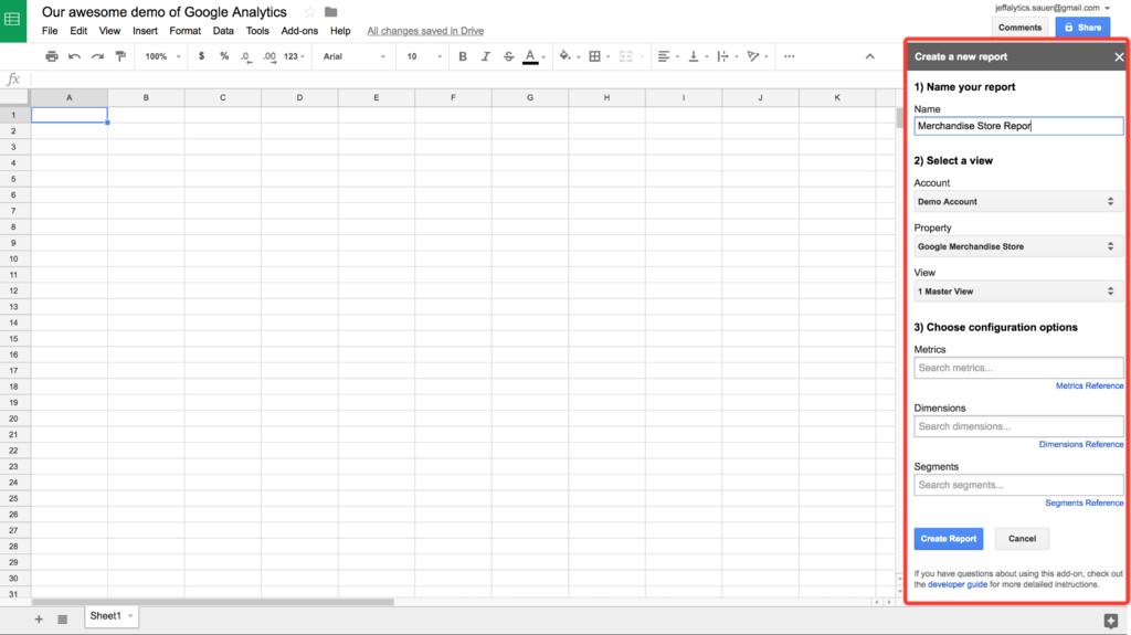 Google analytics api custom reports