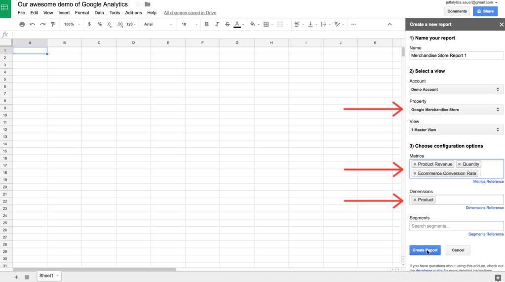 Google Analytics API custom report settings