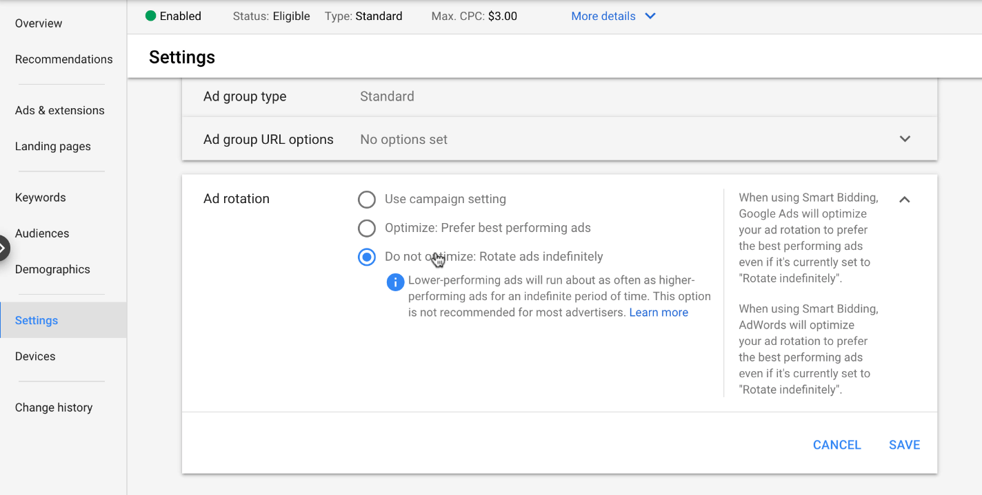 Ad Rotation Settings in Google Ads