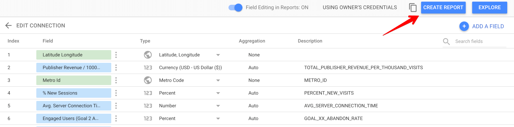 Adding fields to Google Data Studio report