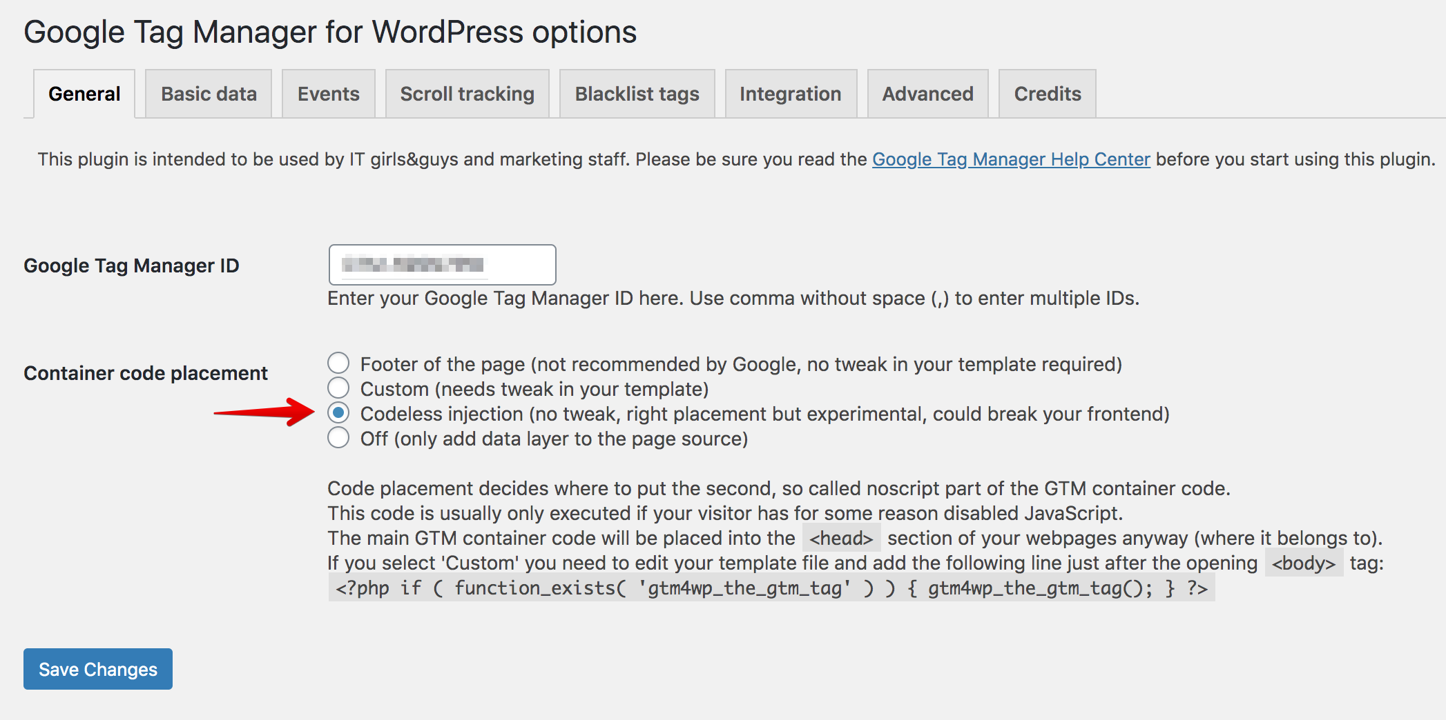 Codeless GTM Installation using the GTM for WordPress plugin