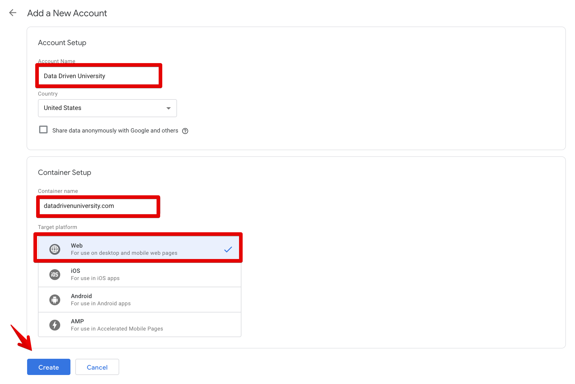 Setting up a Google Tag Manager Account