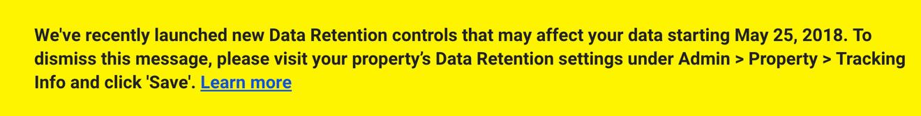 data retention message google analytics