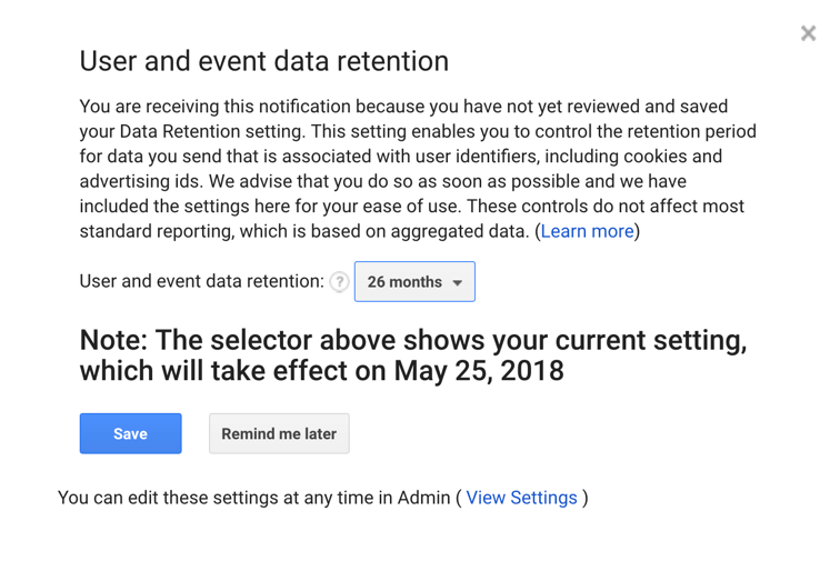 Data retention pop-up Google Analytics