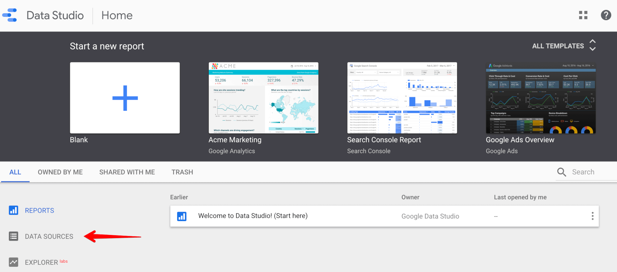 Connecting to data sources in google data studio