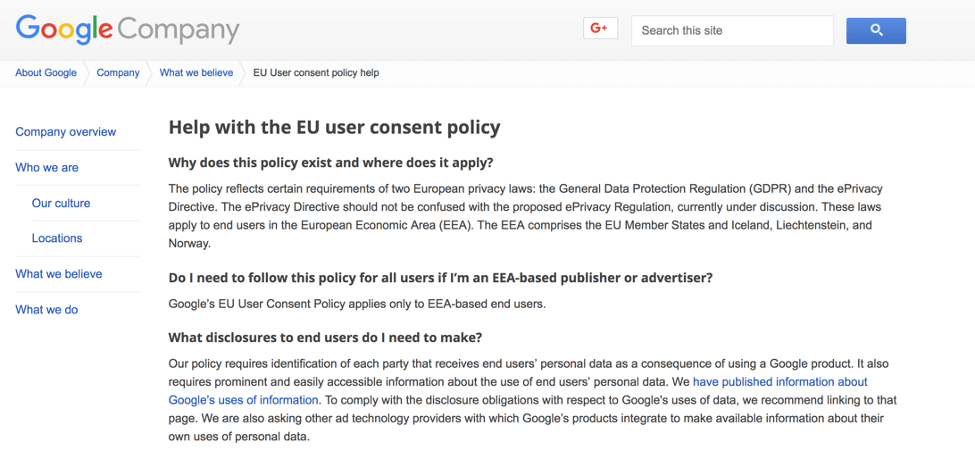 Google Documentation on GDPR