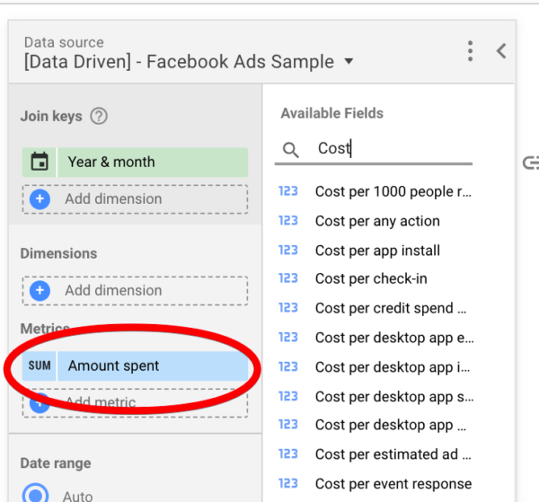 Facebook ads metrics in Google Data Studio