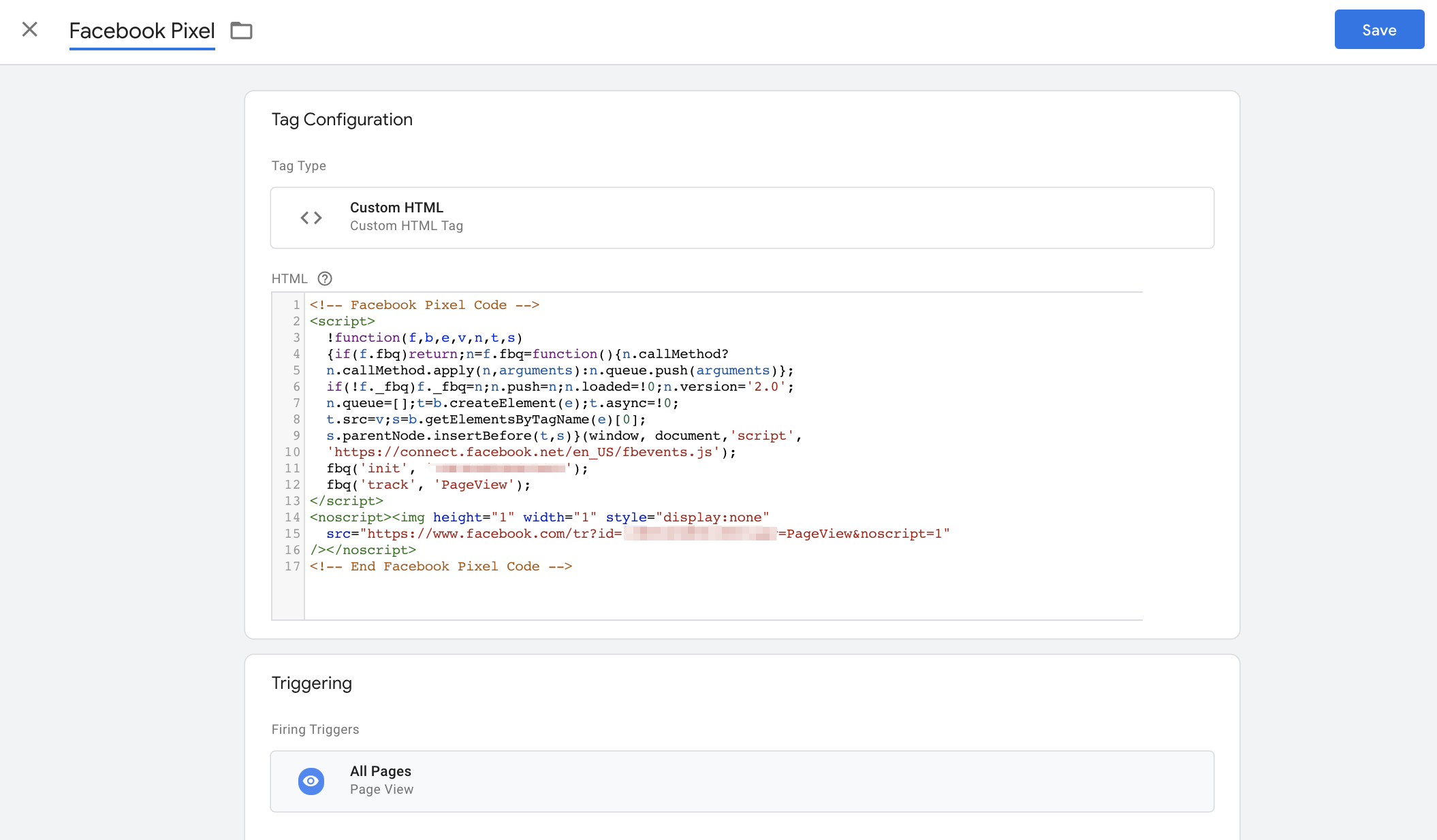 Adding the Facebook Pixel in Google Tag Manager