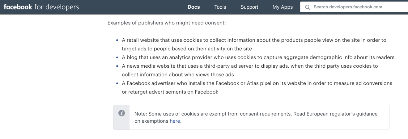 Facebook documentation on GDPR