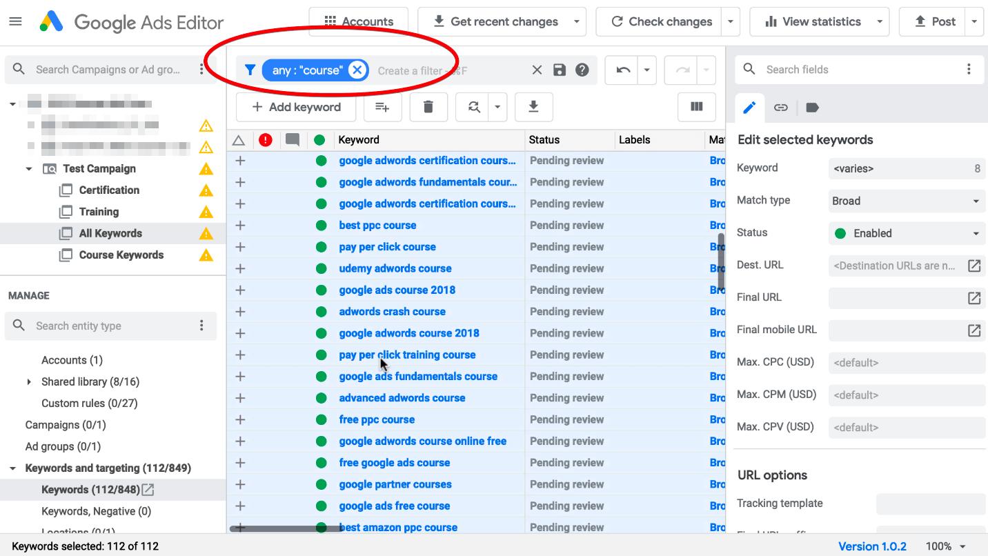 Filtering Keywords