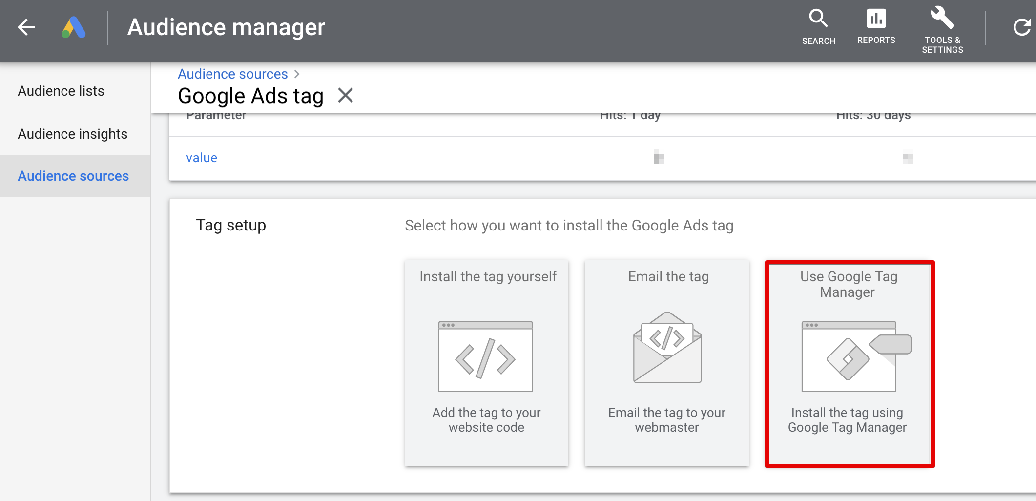 Google Ads remarketing tag for GTM