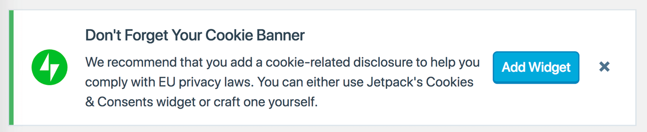 Jetpack cookie consent banner