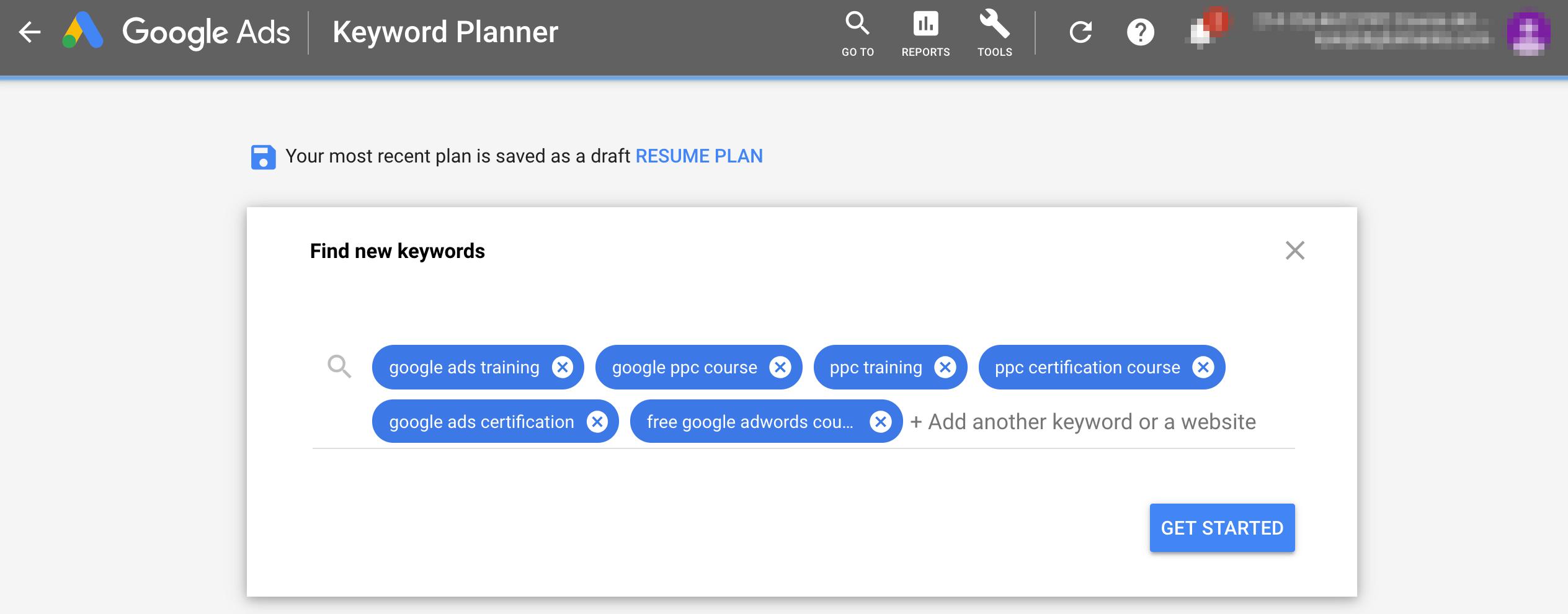 Keyword search - Google Ads Tutorial