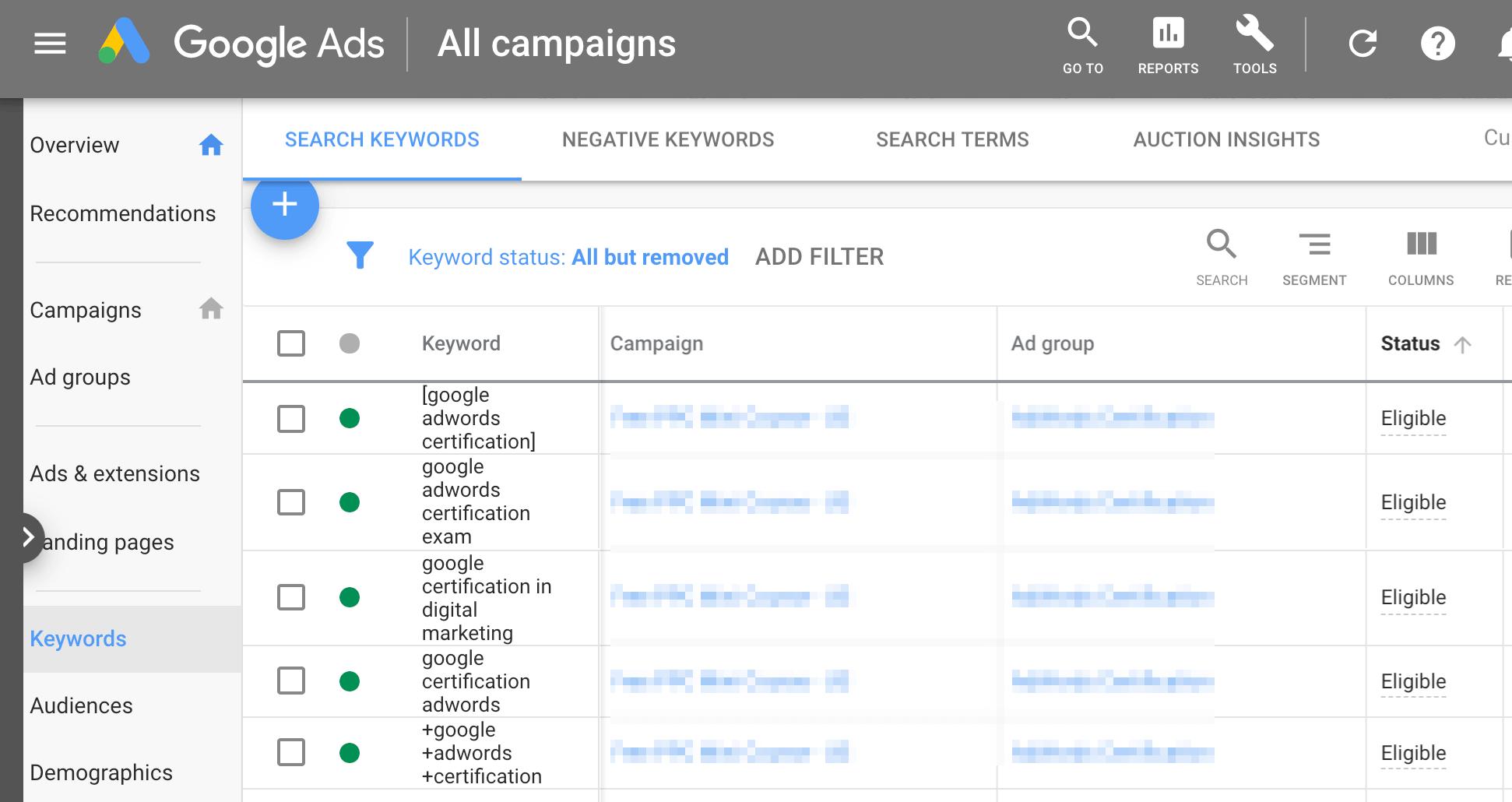Keywords in Google Ads