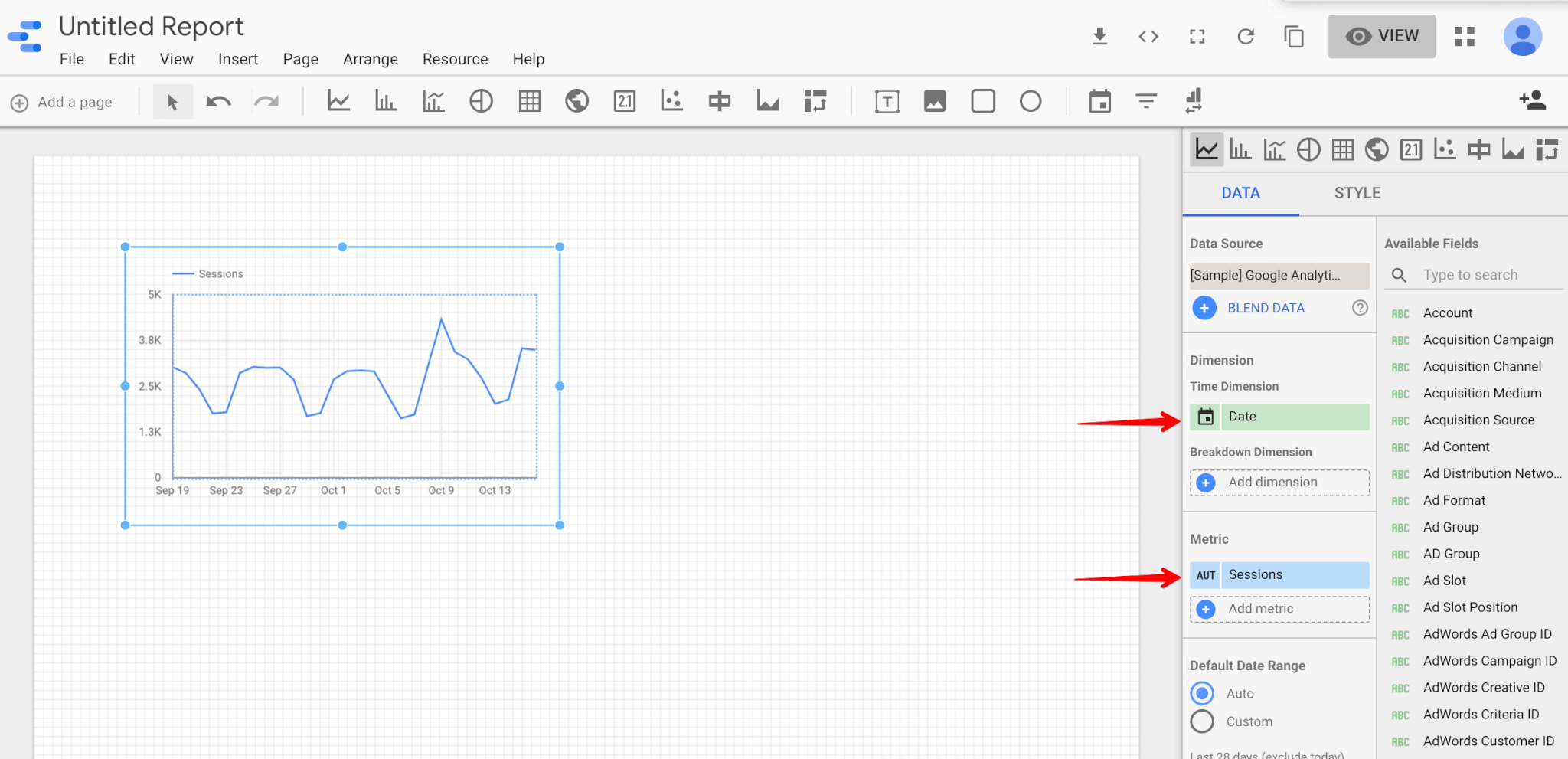 Metrics and dimensions in Google data studio