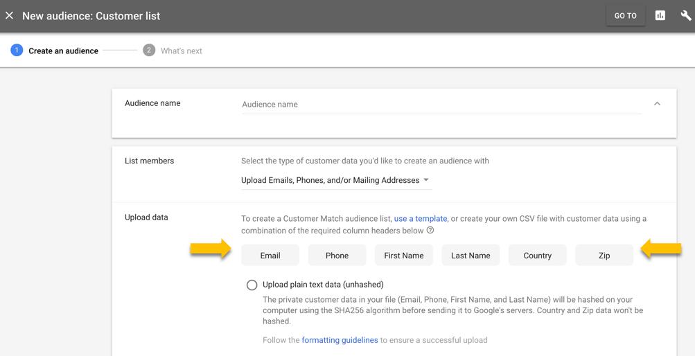 uploading your customer match list