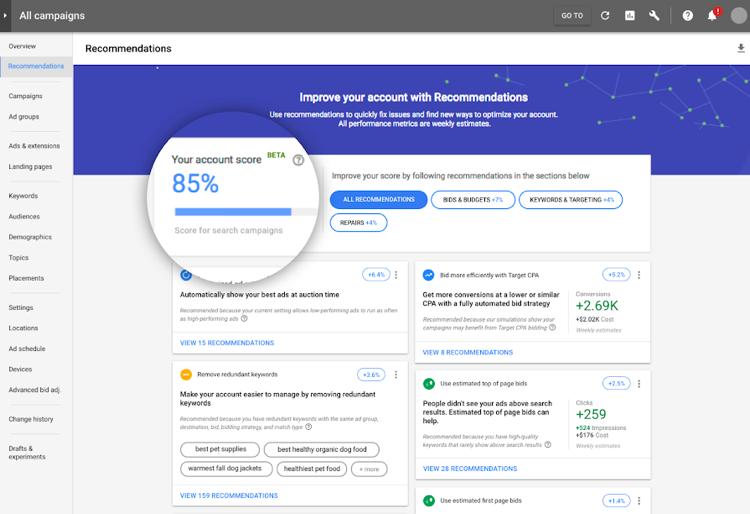 Google Ads optimization score