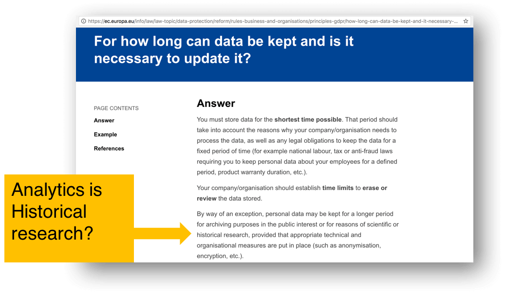GDPR compliance and historical research