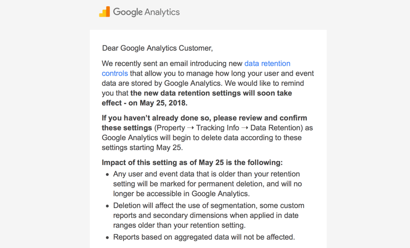 Google Analytics email response