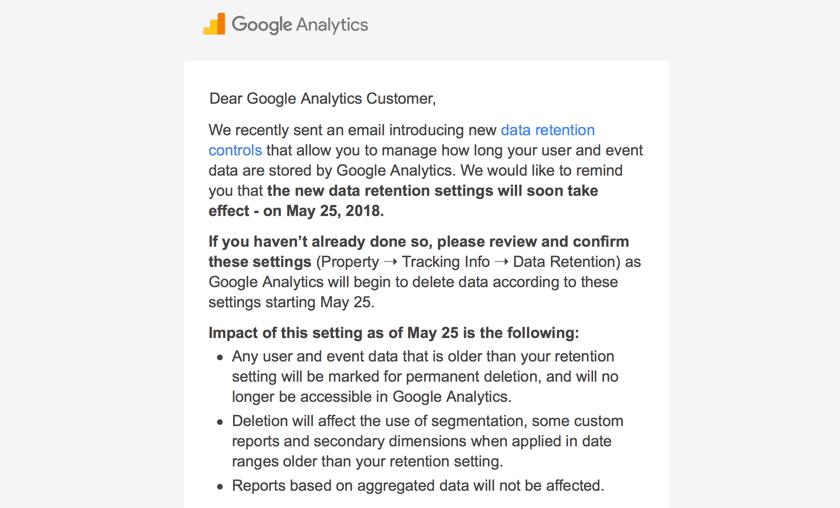 Google Analytics email response