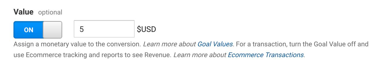 Google analytics goal value choices