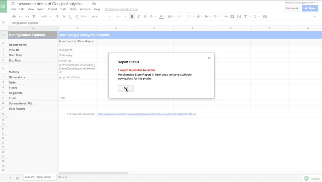 Google Analytics API error message