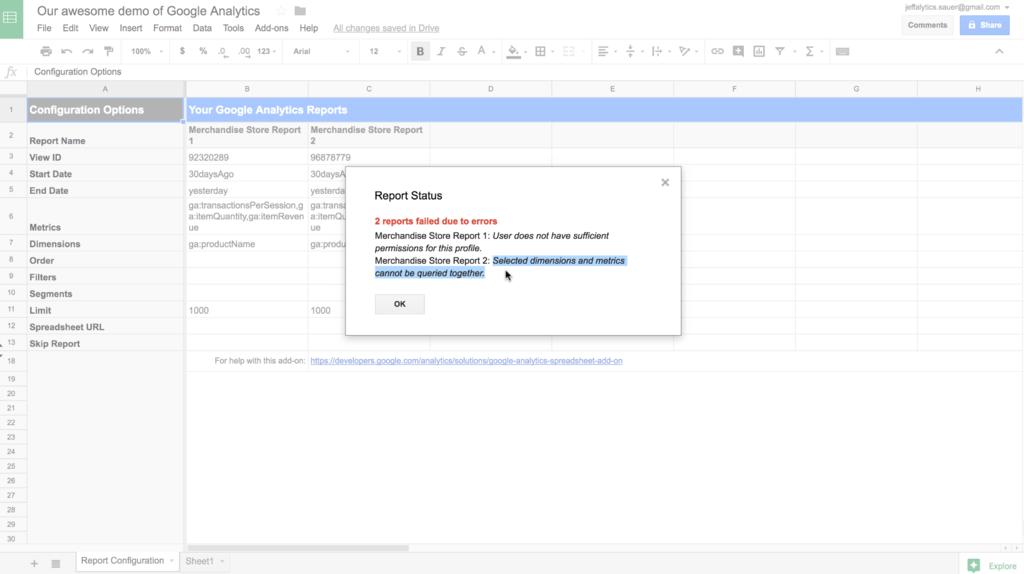 error message google analytics API