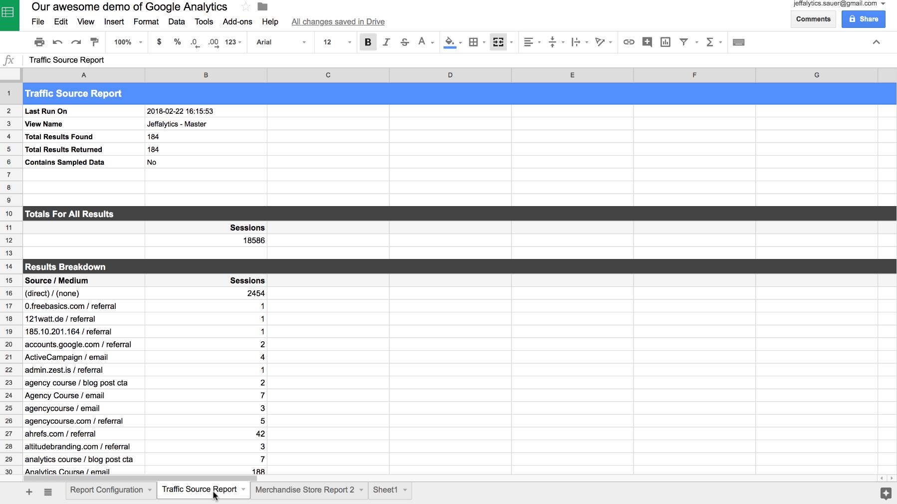 Google Analytics API custom traffic reports