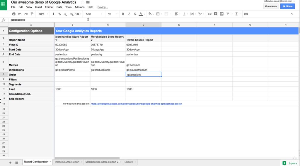 Google Analytics API syntax