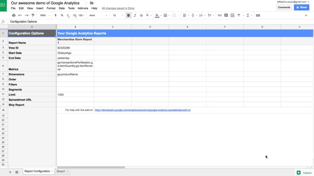 Google analytics api sheets add-on configuration tab