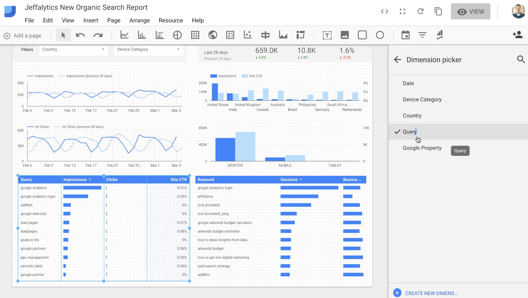 Dimension picker in data studio