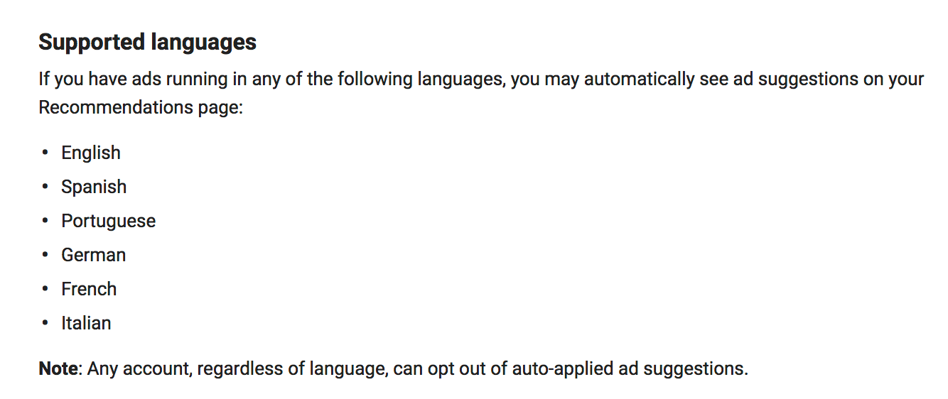 ad suggestion languages