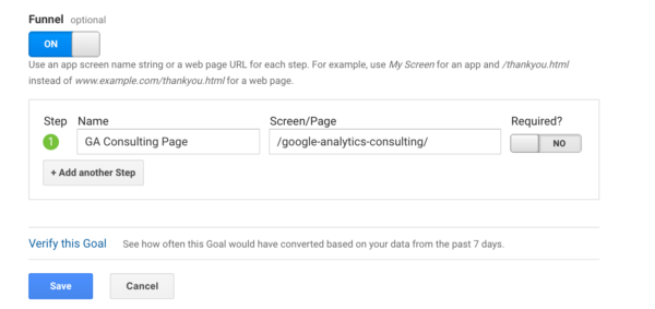 Goal funnel Google Analytics