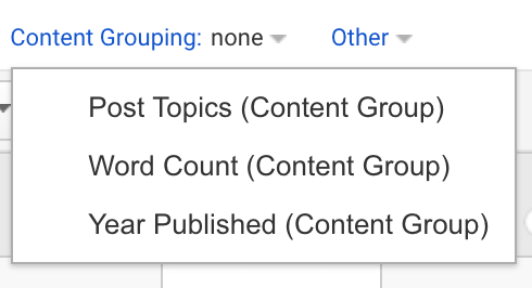 Content grouping categories