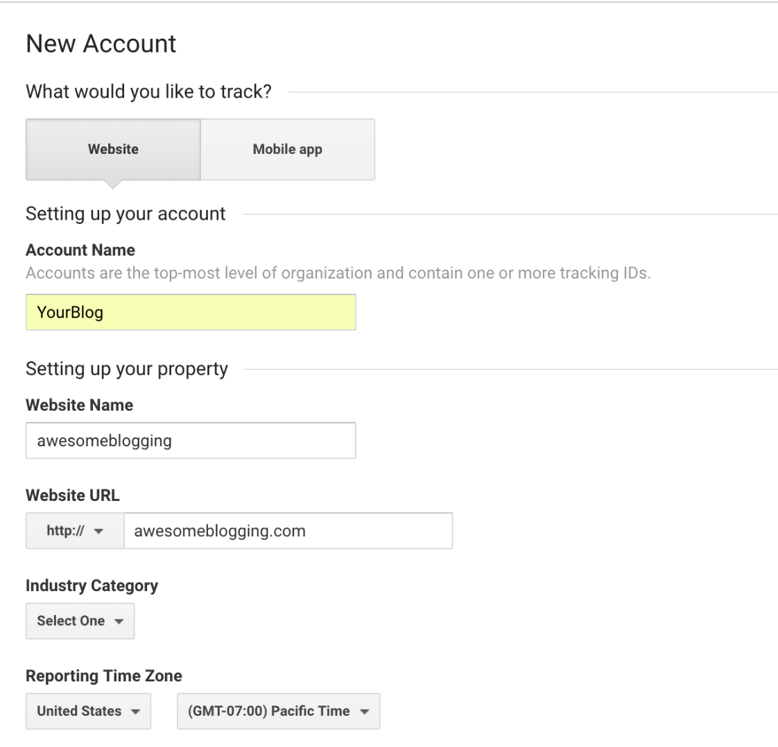 creating a google analytics account