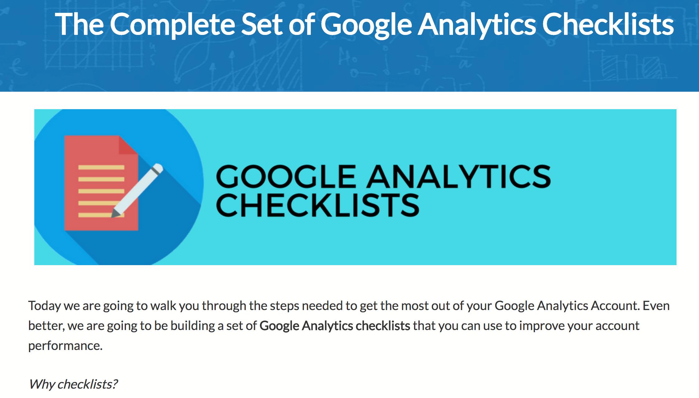 Google Analytics checklists