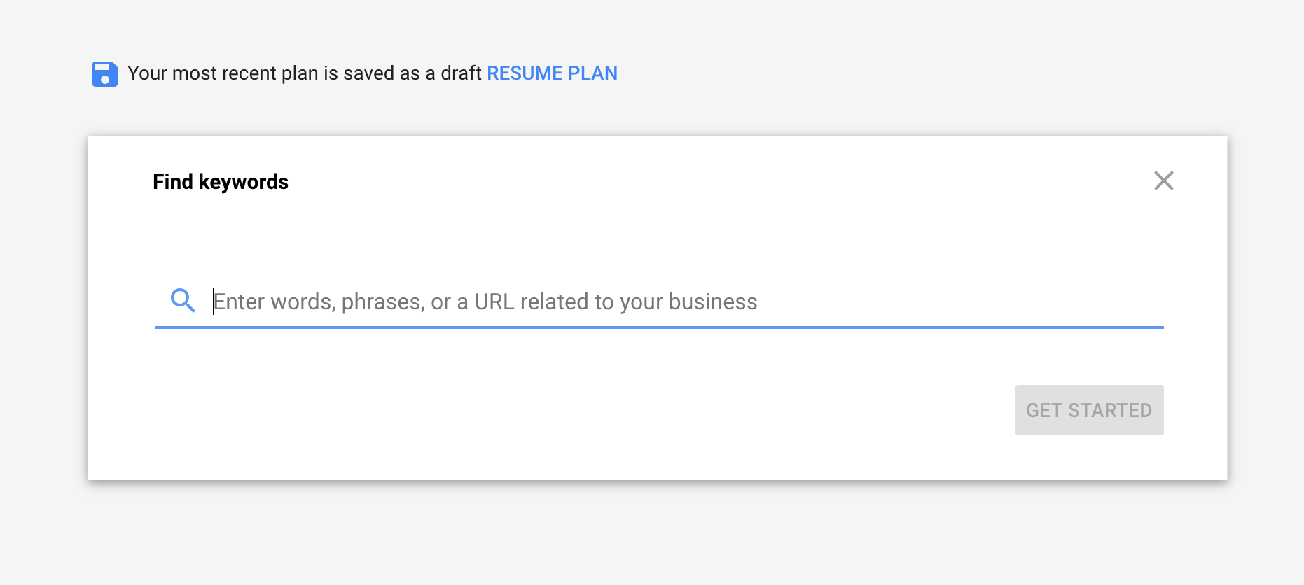 Google Keyword Planner search box