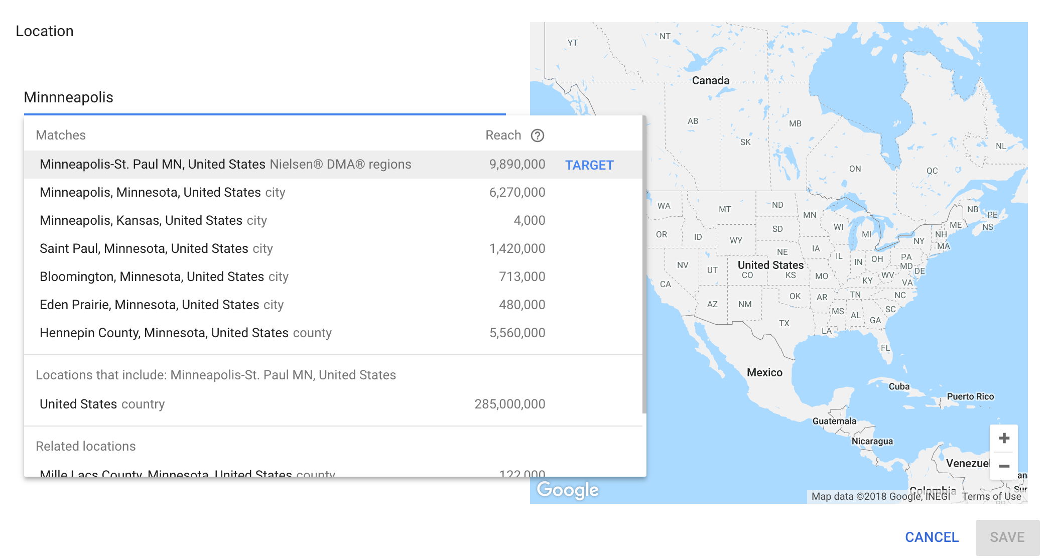 Location setting in the Google Keyword planner
