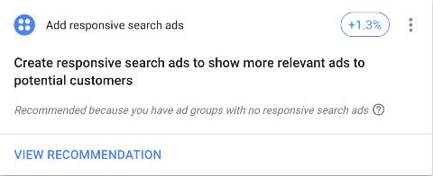 Google Ads optimization score responsive search ads recommendation