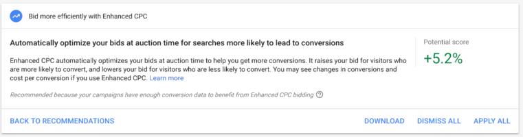 Google Ads optimization enhanced cpc recommendation